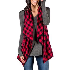 Women's Buffalo Plaid Sleeveless Cardigan Size XXL
